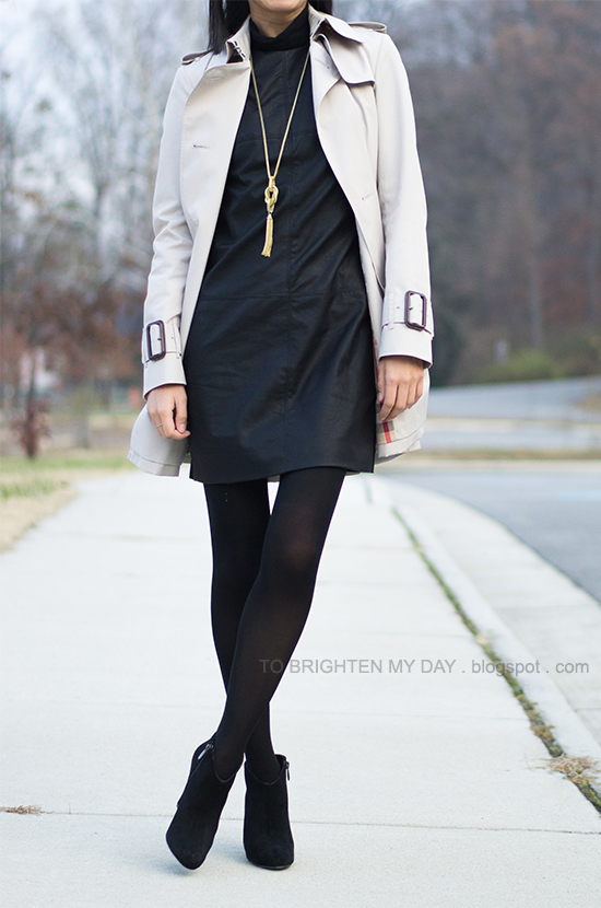 faux leather dress, tassel necklace, trench coat, black suede booties