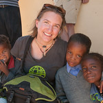 Audrey with a Group of Namibian Students - Spitzkoppe, Namibia