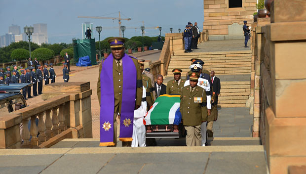 Nelson Mandela's body lying in state at the Union Buildings, 11 Dec 2013
