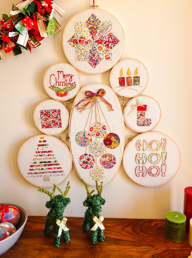 I finally hung my embroidery hoop Christmas tree