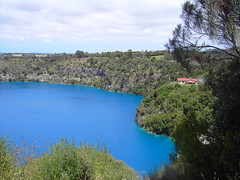 Blue Lake.  Mt Gambier.  Vivid blue of summer in this old volcano crater.