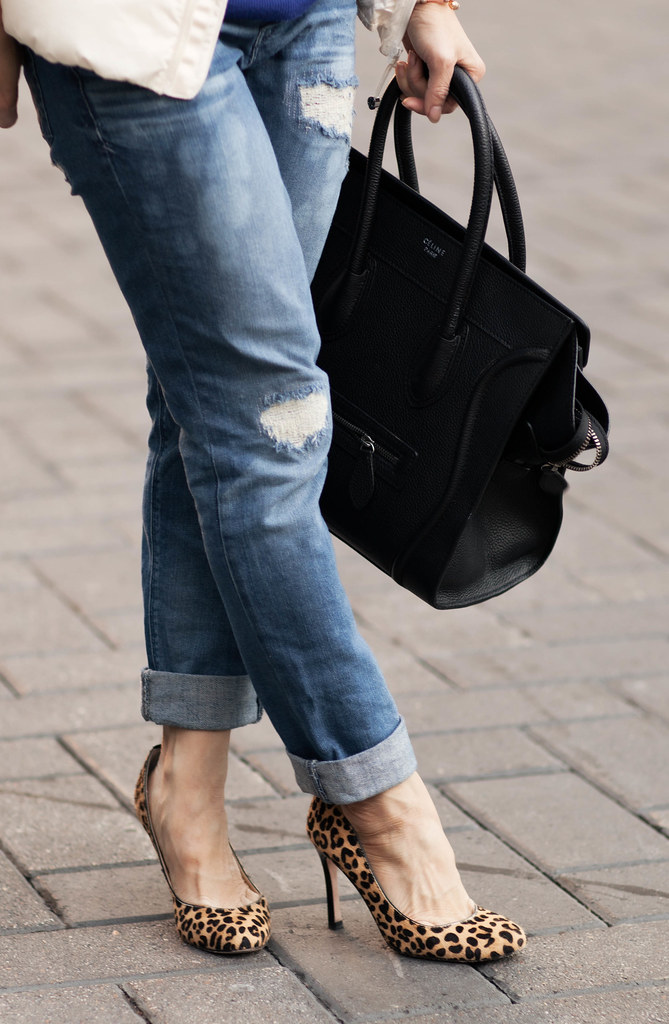 cute & little blog | express stella distressed rolled jean, leopard pumps, celine mini luggage tote outfit