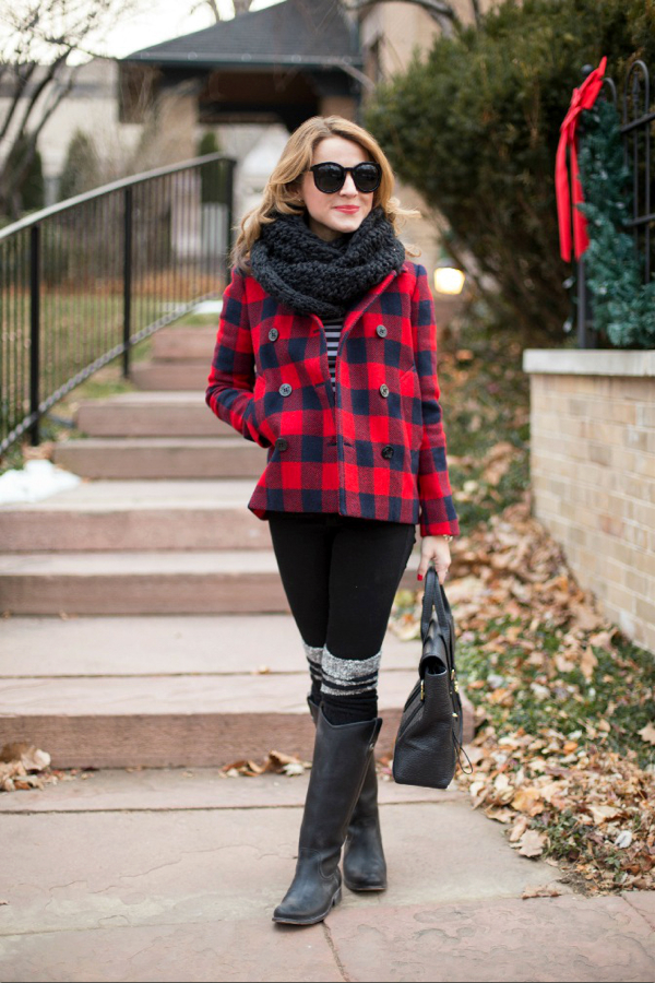 J.Crew Buffalo Check Peacoat