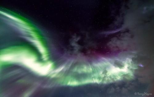 Aurora coronas shot in winter 2013 at Roksøy, Sortland, Norway.