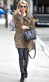 Emma Roberts Leopard Print Coat Celebrity Style Women's Fashion