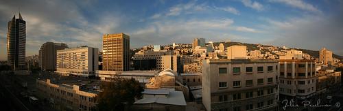 street city morning roof light summer sky panorama sun house clouds sunrise israel asia haifa