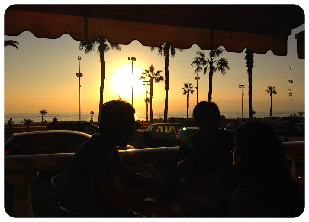 iquique cafe at sunset