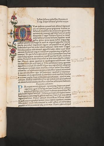 Illuminated initial in Justinus, Marcus Junianus: Epitomae in Trogi Pompeii historias