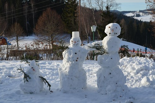 Schneemannbauen am Ponyhof