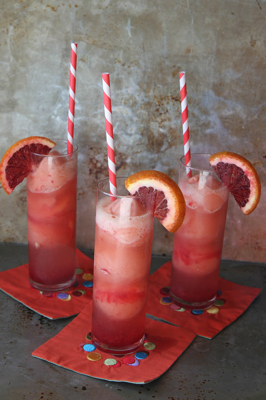Champagne and Blood Orange Sorbet Sparkler