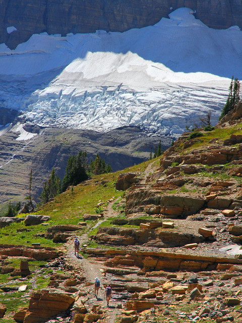 IMG_4089 Hikers toward Sexton Glacier, Siyeh Pass Trail