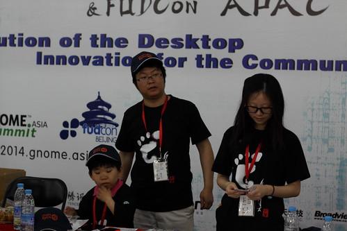Volunteers at the registration.