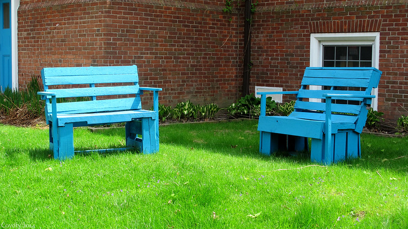 Two blue benches