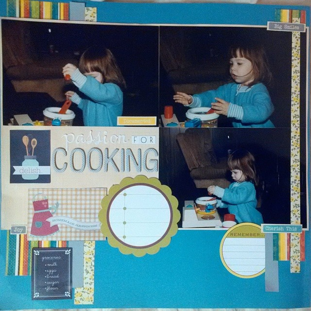 Scrapbook layout documenting my love for cooking early on at age two for LOAD514