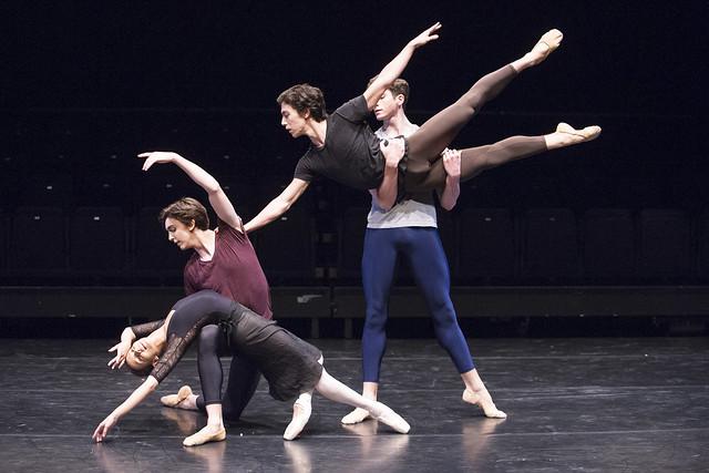Francesca Hayward, Téo Dubreuil, Luca Acri and Reece Clark in Kenta Kura's DW2, Draft Works © ROH / Tristram Kenton, 2014