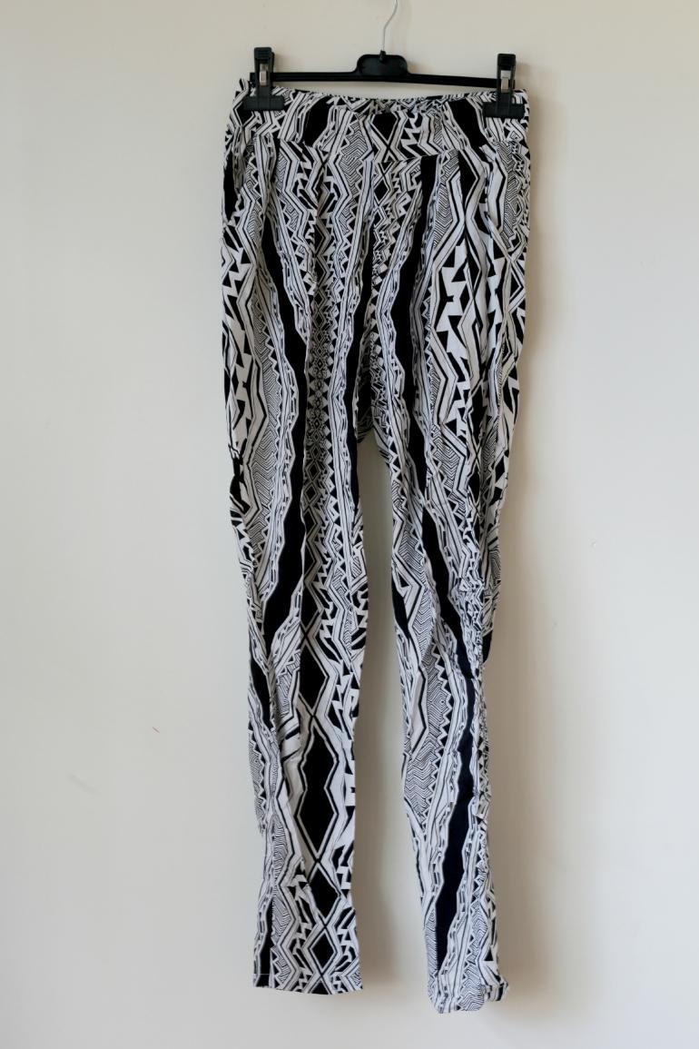vila zwart wit grafisch broek zomerbroek