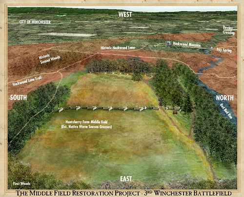 This artist's rendering shows how the middle field area of Huntsberry Farm will look once it is completely restored. Shenandoah Valley Battlefields Foundation artwork.