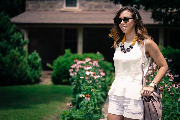 va darling. dc blogger. virginia personal style blogger. virginia blogger. white forever21 top. white cotton shorts. kate spade saturday a satchel. pink wedges. summer style 9