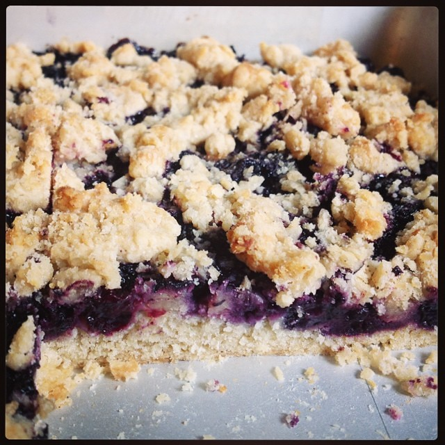 When life gives you a broken refrigerator and sad blueberries, make blueberry crumb bars.    (And then enjoy with a big mug of coffee  while waiting for the repair man.)  #taralovesmornings