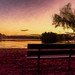 Park Bench at Sunset by Wes Iversen