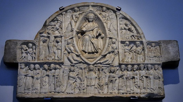 Carved marble Ascension tympanum, Larnaka, Cyprus, c1220 - Victoria and Albert Museum, London