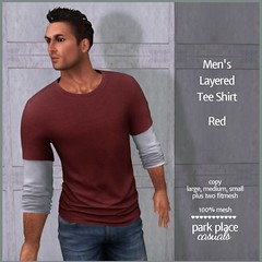 [PP Casuals] Men's Layered Tee Shirt - Red