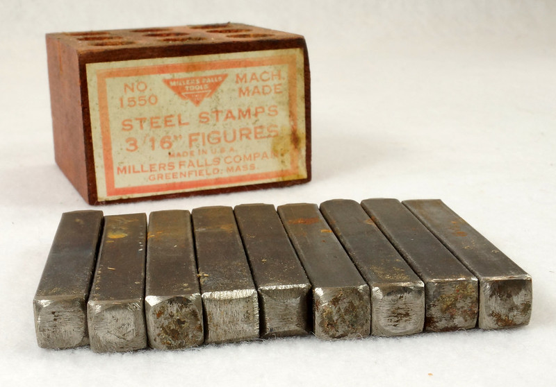 RD14695 Millers Falls 3-16th inch Figures Steel Number Punch Stamps Set No 1550 USA DSC06520