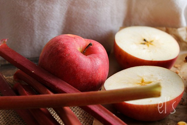 Carrés pomme rhubarbe