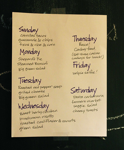 Meal plan the week of July 7