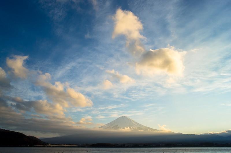 Mount Fuji at Sunset across Lake Kawaguchiko - a symbol of enduring  Japan