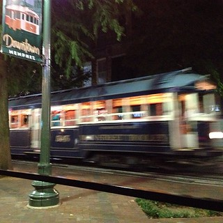 2013-07-09; Main Street Trolley in motion - Downtown, Memphis TN #downtownmemphis #downtownmemphistn #memphis #memphistn #downtown #mainstreet #mainstreetrolley #trolley #trolleyline