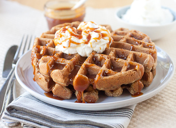 Apple Pie Waffles with Maple Bourbon Caramel Sauce