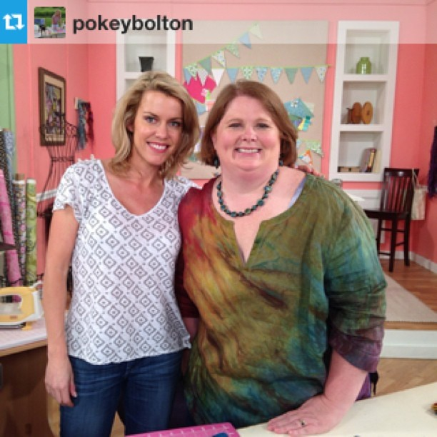Last one! Here Pokey is leaving to start planning for the next day of #QATV taping, while I've got to tape a 70 workshop video! It was a lot of work, but now it's done! Thanks to Pokey for capturing my day!! #Repost from @pokeybolton with @repostapp