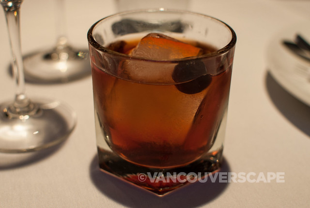 Barrel-Aged Vieux Carré: Courvoisier VS, rye whisky, Benedictine, mellowed in charred oak