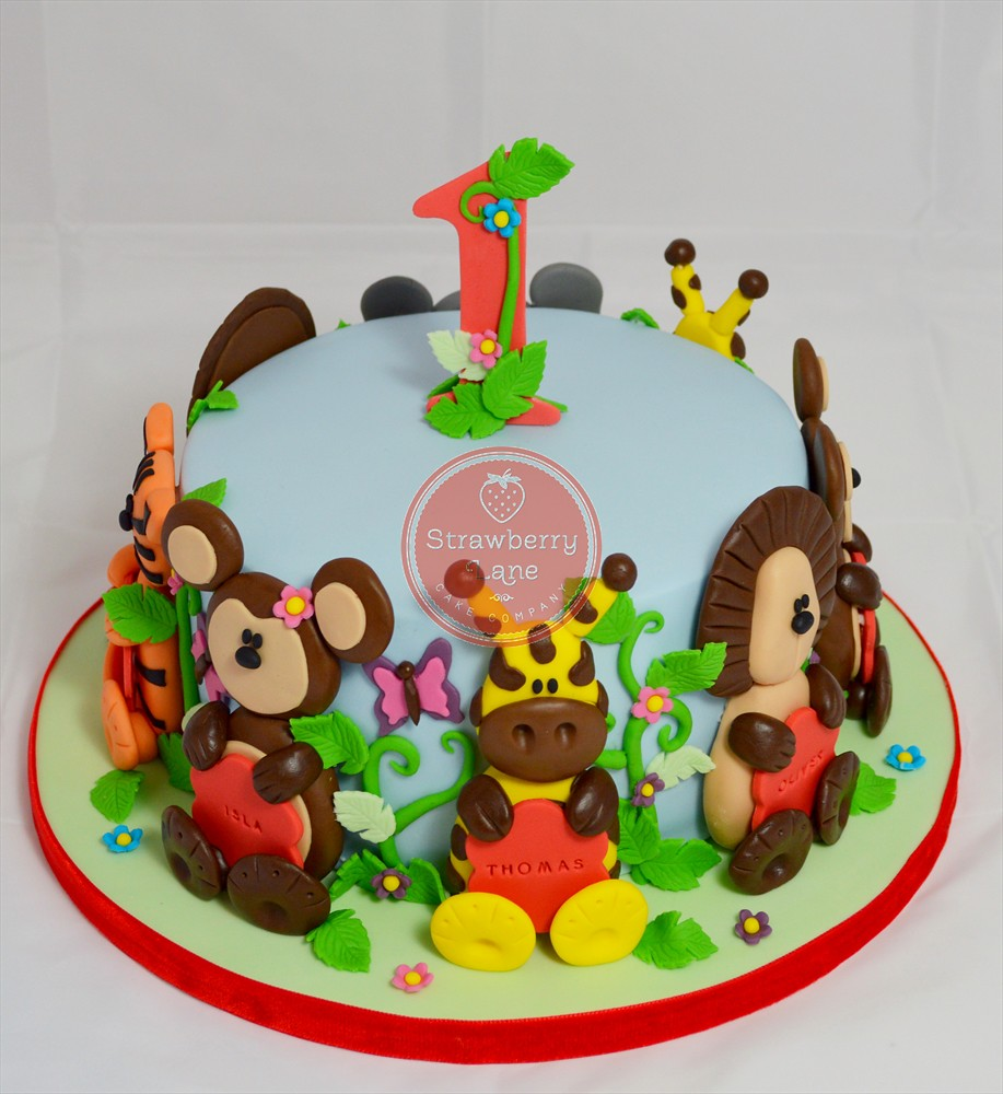 Jungle Animal Themed Joint 1st Birthday Cake