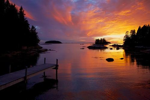 ocean sunset night islands dock cloudy maine coastline
