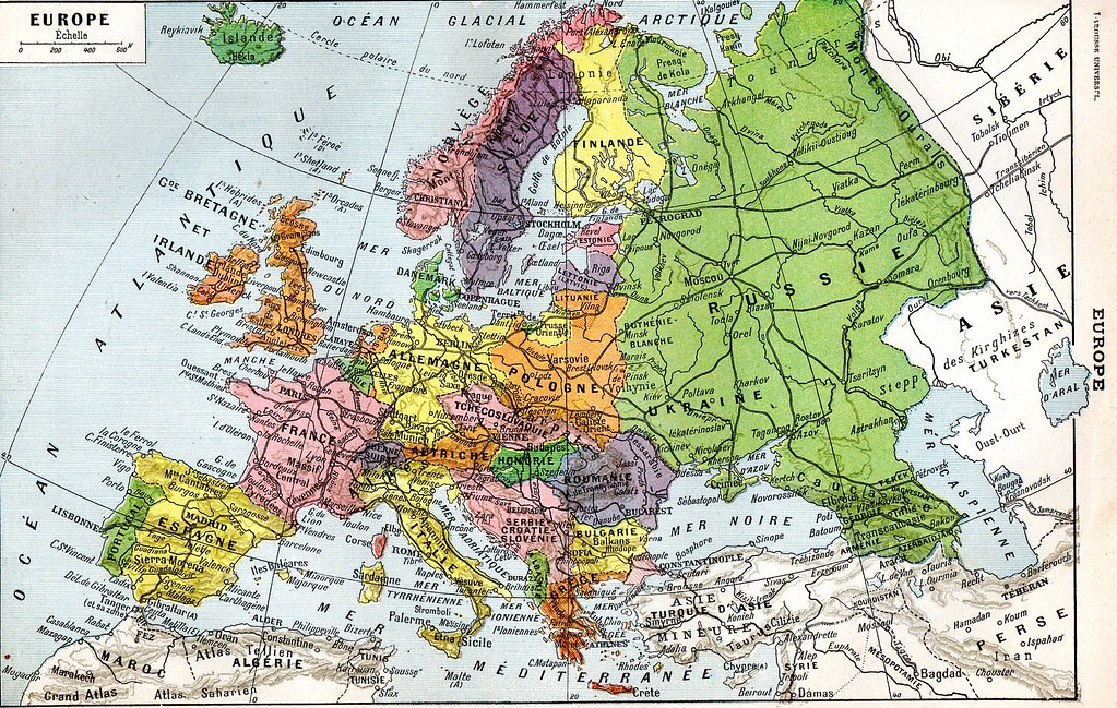 1920s Europe Map.The 1920s 1922 Larousse Europe Map Mo Flickr