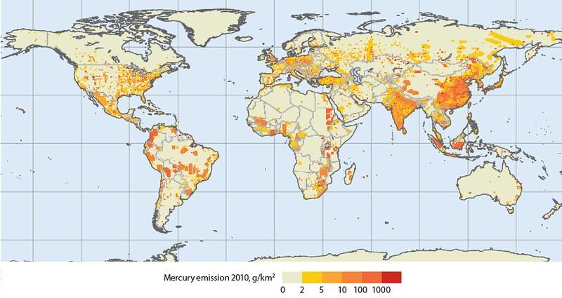 2010全球大氣汞人為排放分佈圖3,顏色越偏深紅色表示排放量越高。