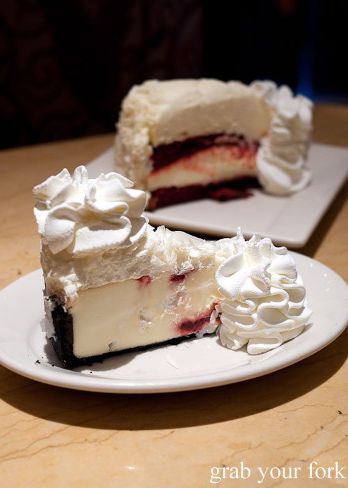 White chocolate raspberry truffle cheesecake dessert The Cheesecake Factory Chicago Illinois