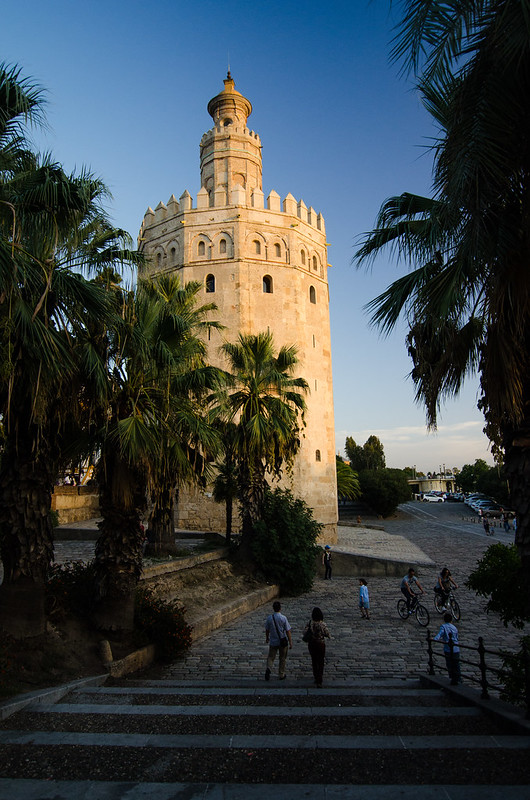 Sevilla's river side Torre del Oro, or Golden Tower, at sunset.