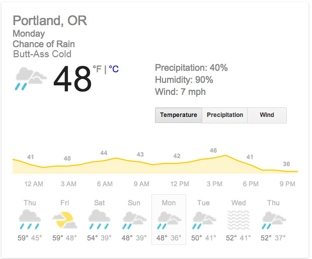 PDX butt-ass cold