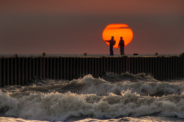 Water, Waves, Fishing, Pier, Silhouette, Sunrise, Kewaunee, WI