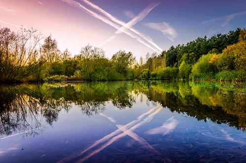 trees sunset sky sun sunlight lake reflection clouds landscape scenic nottinghamshire nikon1855mmlens nikond5100