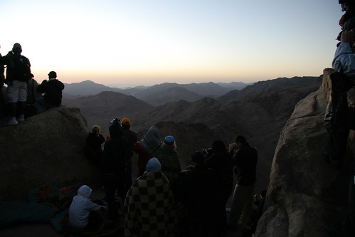 People viewing sunrise from top of Mount Sinai, Egypt