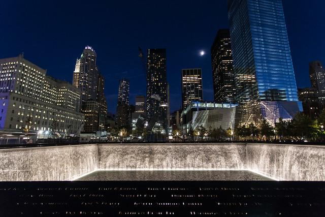 9/11 memorial by moonlight
