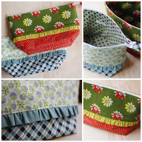 Ruffled Zippered Pouches