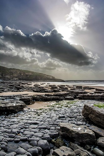 ocean autumn light sea sun storm water southwales wales clouds coast sand rocks waves wind shaft southerndown dunravenbay witchespoint