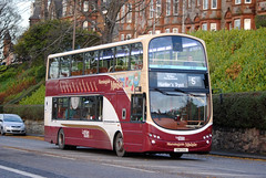 This bus was new to Lothian Buses as 952 in 2011. Seen here on Comiston Road.  The 5 was route diverted via Comiston Road and Oxgangs to join the normal route in both directions, as Greenbank Drive/Oxgangs Avenue was closed for road works. The 16 was diverted via Greenbank Drive then back on it's no...