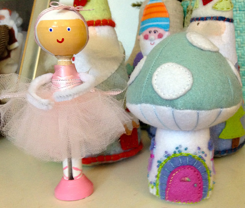 Felt Mushroom & Ballerina Peg Doll