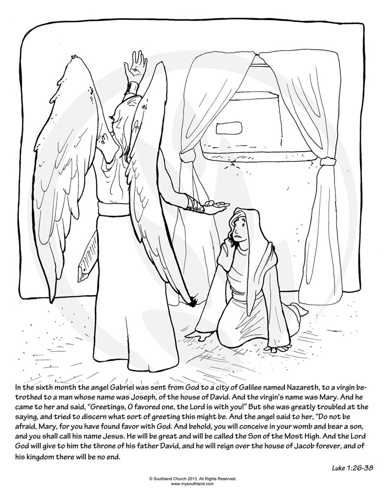 mary and angel gabriel colouring pages page 2
